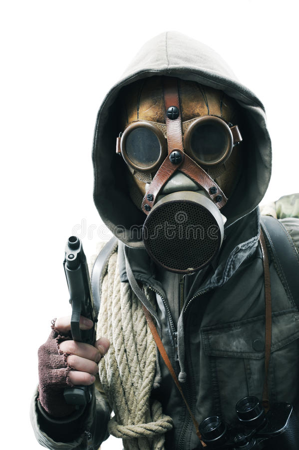 Post apocalyptic survivor in gas mask. On white background royalty free stock photos