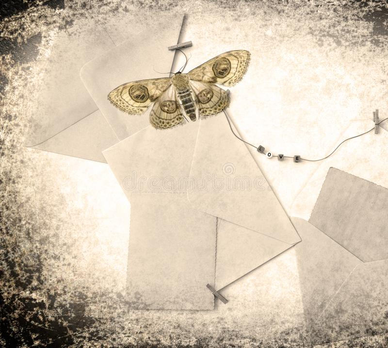 Post blank envelopes and vintage blank cards. Post envelopes and vintage blank cards. Word love made of a plastic letters. All objects are hanging on a rope royalty free stock images