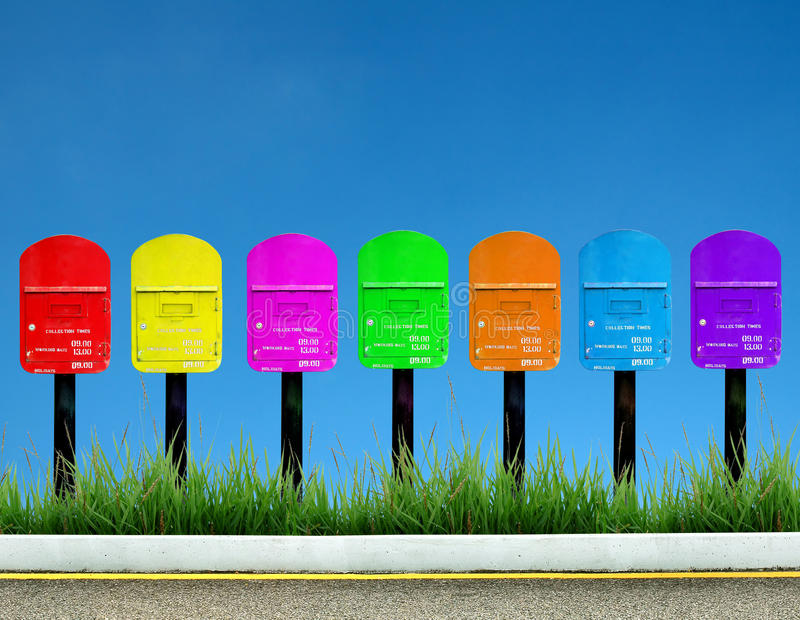 Post box. 7 color post box for a week royalty free stock images