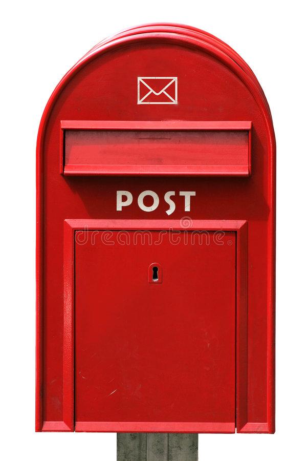 Post box. A classical red postbox on white backgruond