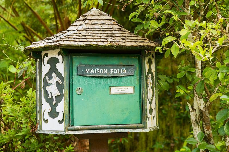 Post box of the oldest colonial estate Maison Folio in Hell-Bourg, Reunion island. royalty free stock photography