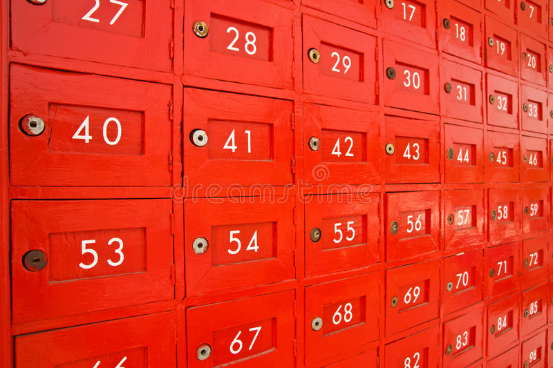 Post box for rent. Colorful wood post box and numbers royalty free stock images