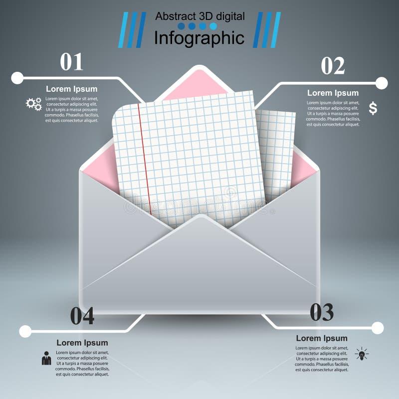 Post, brief, document - infographic zaken stock illustratie