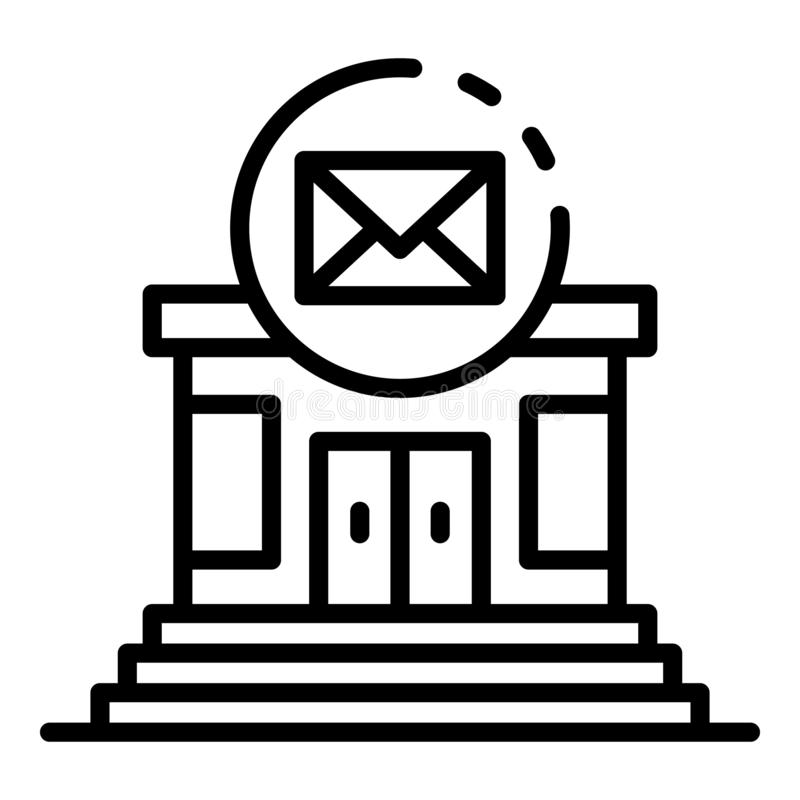 Post building icon, outline style vector illustration