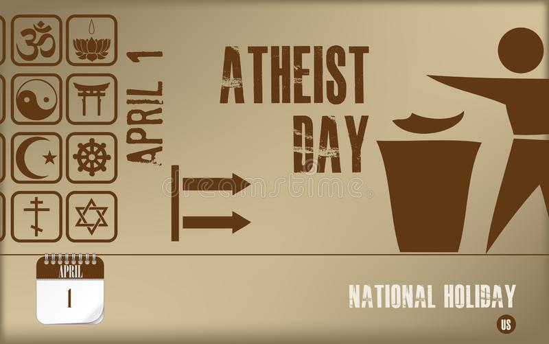 Postcard Atheist day. Post card Atheist day. National holiday in the United States, a holiday associated with the denial of faith in God vector illustration