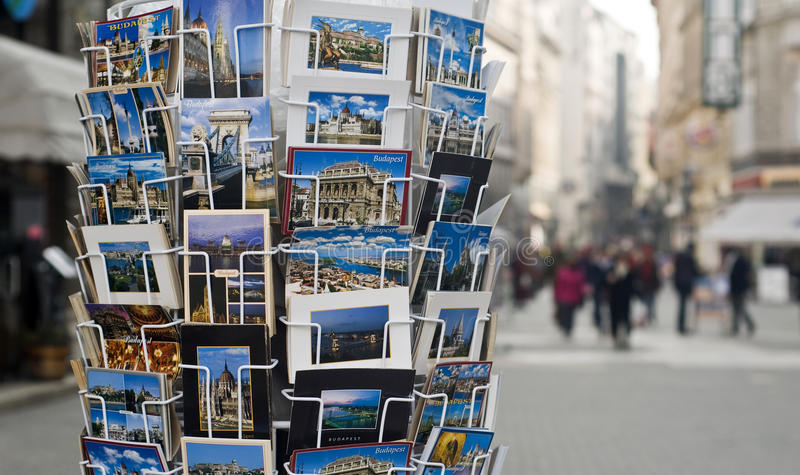 Post cards. Displayed for sale on the Vaci Utca street, in the center of Budapest, Hungary royalty free stock photo