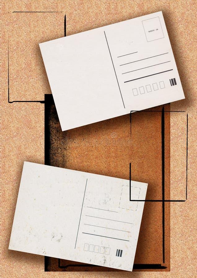 Post cards background. Old grunge post cards on natural background with frames vector illustration