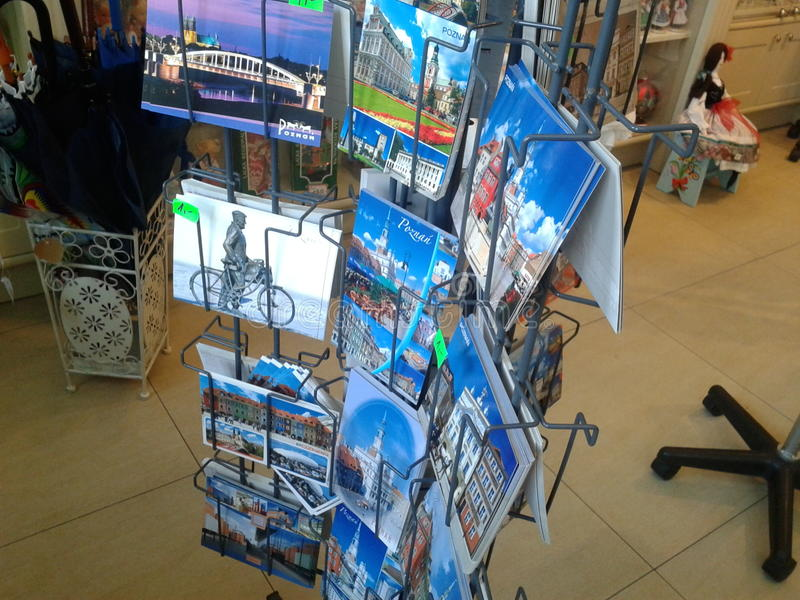 Post cards. For sale in a souvenir shop in Poznan, Poland royalty free stock photos