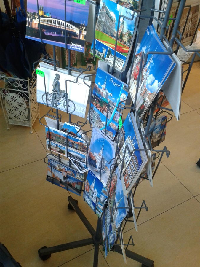 Post cards. For sale in a souvenir shop in Poznan, Poland stock photography