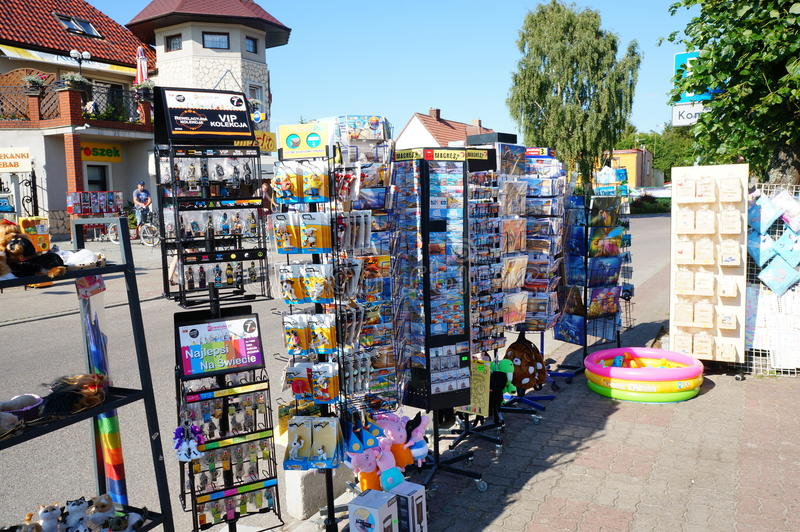 Post cards. SIANOZETY, POLAND - JULY 22, 2015: Post cards and small souvenirs for sale at the street royalty free stock image