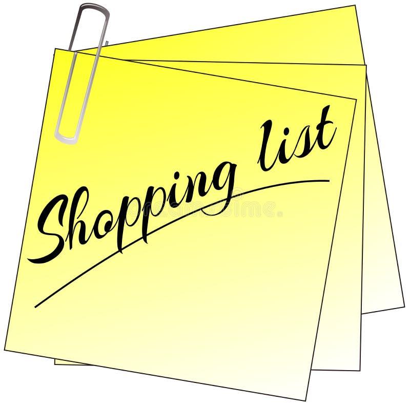 Post-it coloré de liste d'achats d'isolement illustration de vecteur