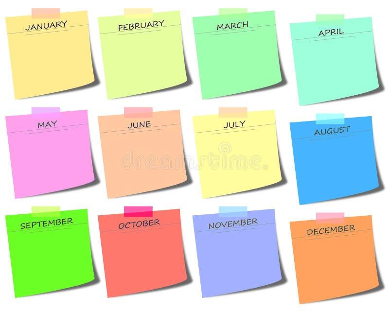 post-it colorido con meses - haga calendarios el ejemplo del icono ilustración del vector