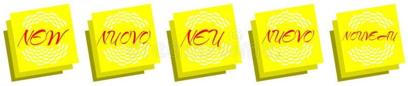 Post-it com a palavra nova ilustração stock