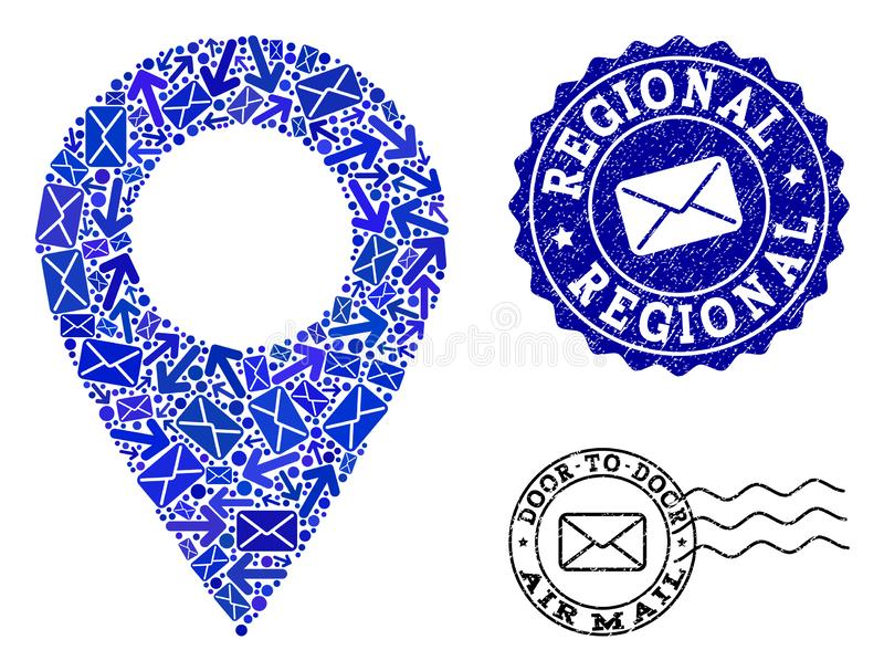 Post Communication Collage of Mosaic Local Map Marker and Grunge Stamps vector illustration