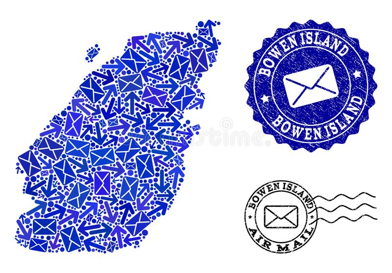 Post Communication Collage of Mosaic Map of Bowen Island and Textured Seals. Mail combination of blue mosaic map of Bowen Island and grunge stamps. Vector seals vector illustration