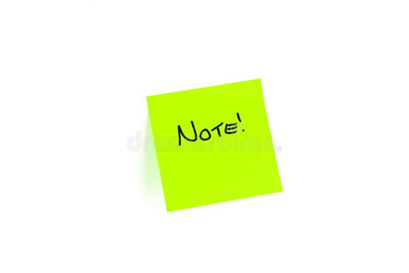 Post-it Con La NOTA Scritta Su Esso Immagini Stock
