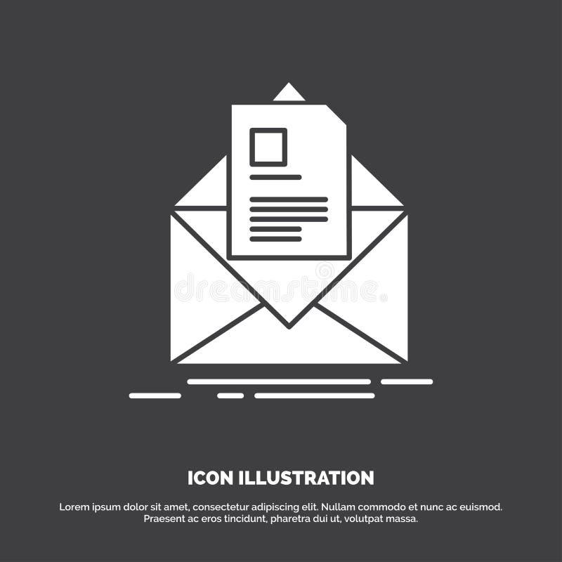 post, contract, brief, e-mail, het informeren Pictogram glyph vectorsymbool voor UI en UX, website of mobiele toepassing stock illustratie