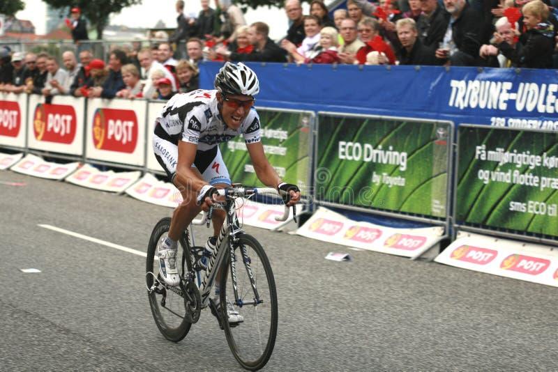 Post Danmark Rundt. Nicki Sørensen, Team Saxo Bank. Second stage of the danish cycling race, Post Danmark Rundt stock images
