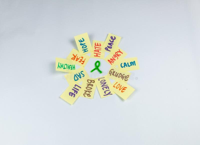 Post-it de conscience de santé mentale avec le ruban images libres de droits
