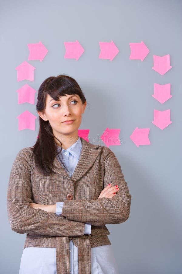 Post-it de la mujer de negocios fotos de archivo
