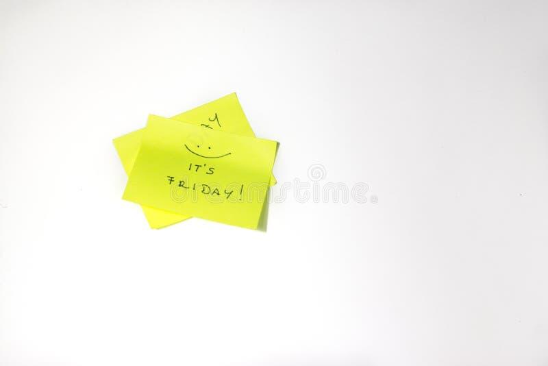 Post-it de motivación de viernes fotografía de archivo libre de regalías