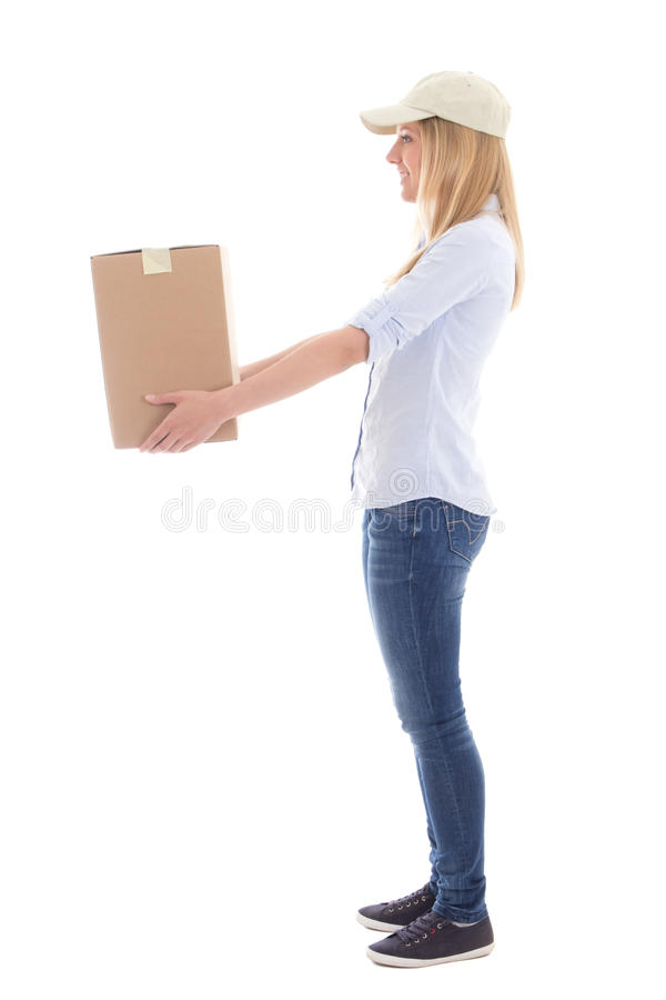 Post delivery service woman giving box isolated on white royalty free stock image