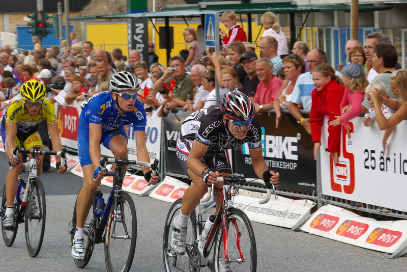 Post denmark tour 2008. 3 danish racing cyclist (Maritn Mortensen team Designa lead) in front of the post denmark tour stock images