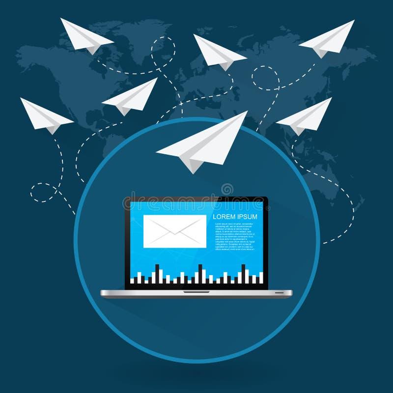 Post die rond de wereld als document vliegtuigen vliegen vector illustratie