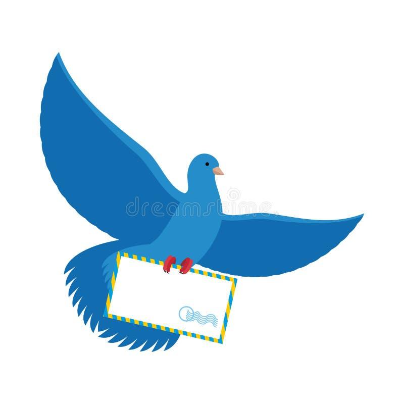Post- duva Blått som dykas med kuvertet Blå fågelbrevbärarecarrie royaltyfri illustrationer