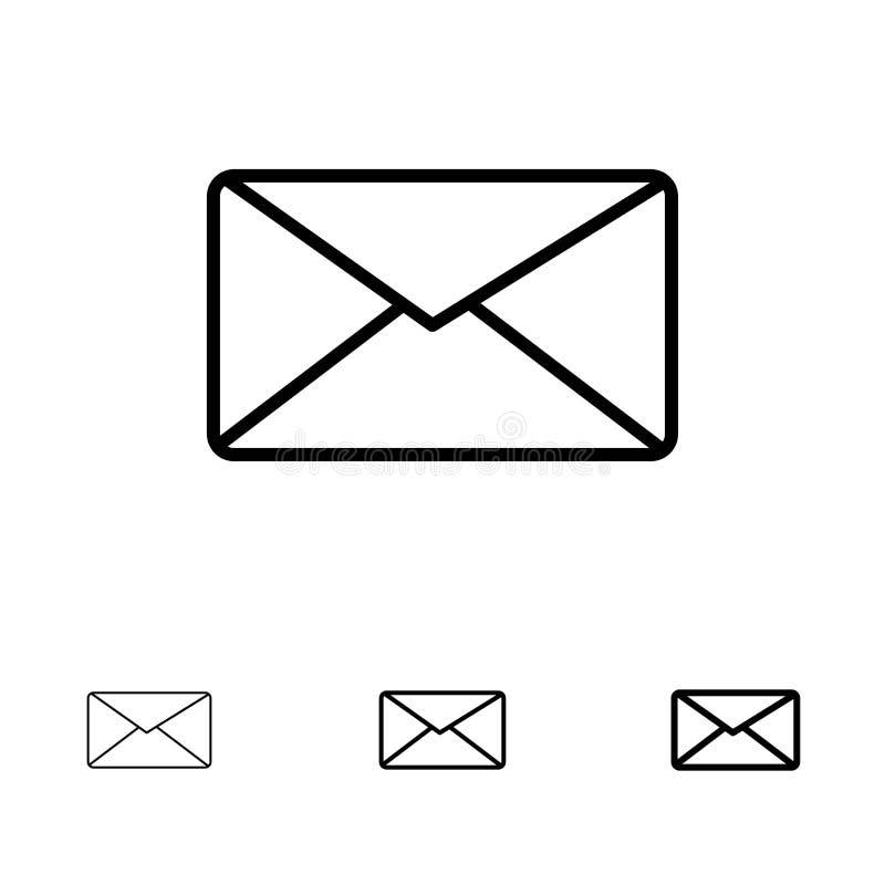Post, E-mail, Gebruiker, het pictogramreeks van de Interface Gewaagde en dunne zwarte lijn royalty-vrije illustratie