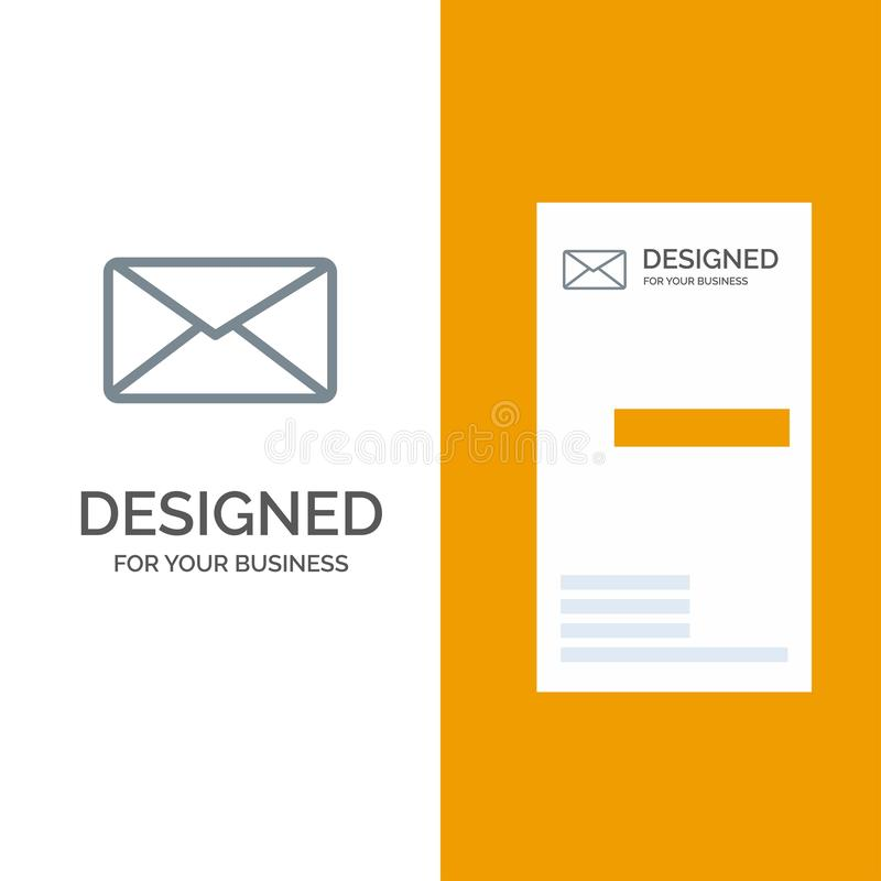 Post, E-mail, Gebruiker, Interface Grey Logo Design en Visitekaartjemalplaatje stock illustratie