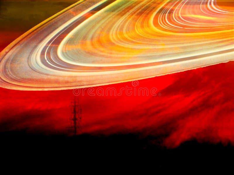 Post en Saturnus-ringslicht over donkere hemel royalty-vrije stock foto's