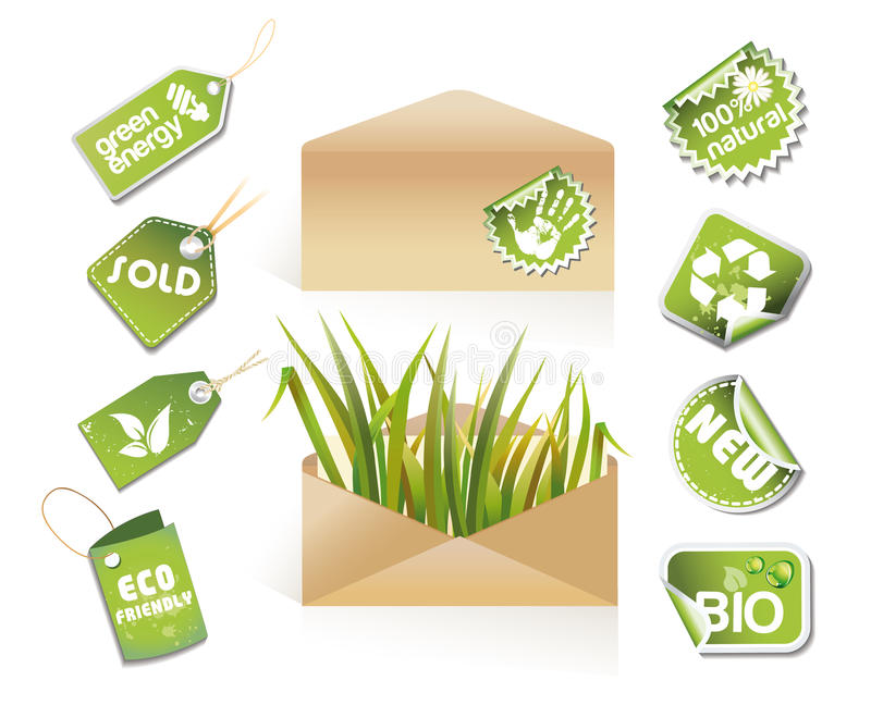 Post envelopes - eco idea stock illustration