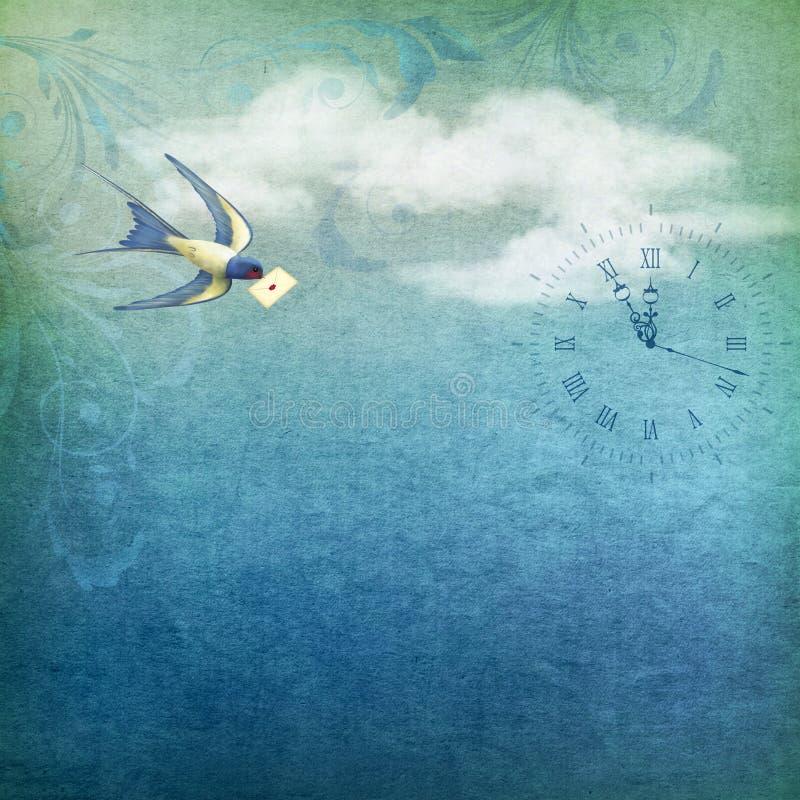 Post för himmelfågelbokstav vektor illustrationer