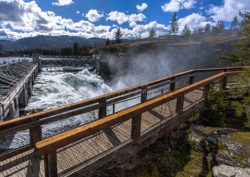 Post Falls水坝俯视 免版税库存照片