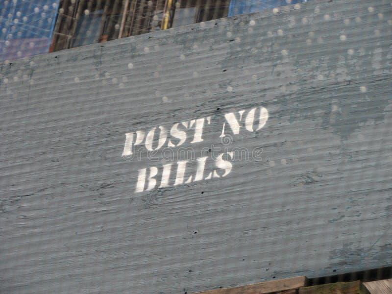 Post geen rekeningensignage stock afbeelding