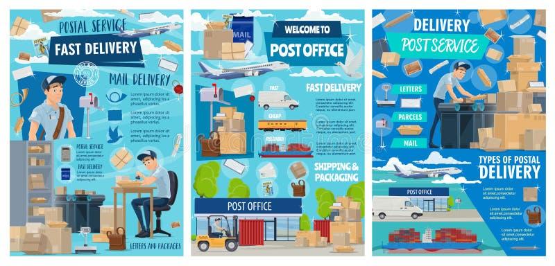 Post- hemsändning, stolpe - kontorssändnings royaltyfri illustrationer