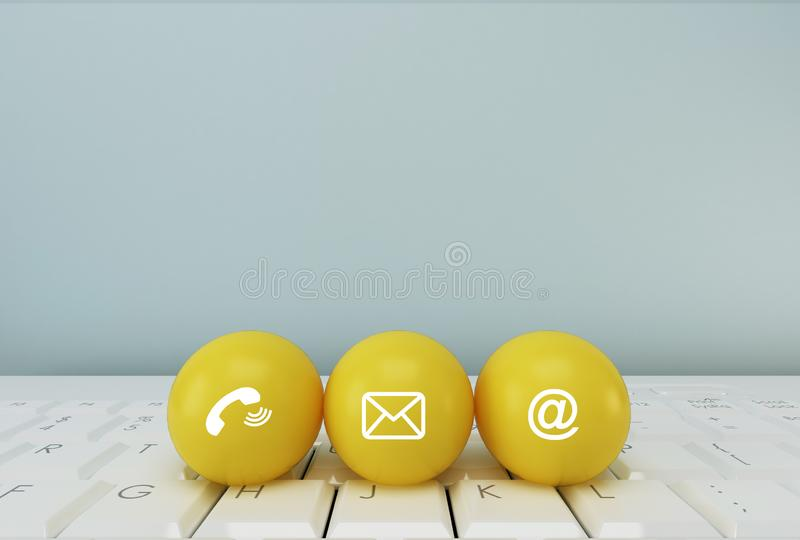 Post icons yellow sphere symbol telephone, mail, address and mobile phone. Contact Methods concept on website page or e-mail. Marketing stock photos