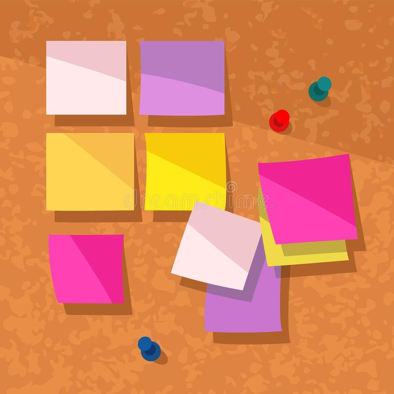 Post-its on Cork Background. Colorful vector illustration of blank post-it notes on a cork background stock illustration