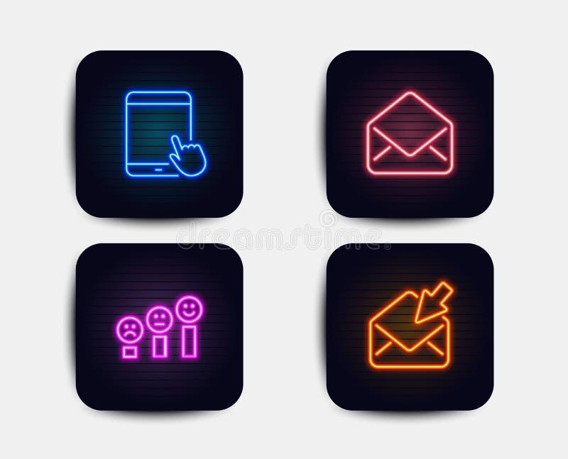 Post, Klantentevredenheid en de pictogrammen van Tabletpc Open postteken E-mail, Gelukkige glimlachgrafiek, Touchscreen gadget Ve stock illustratie