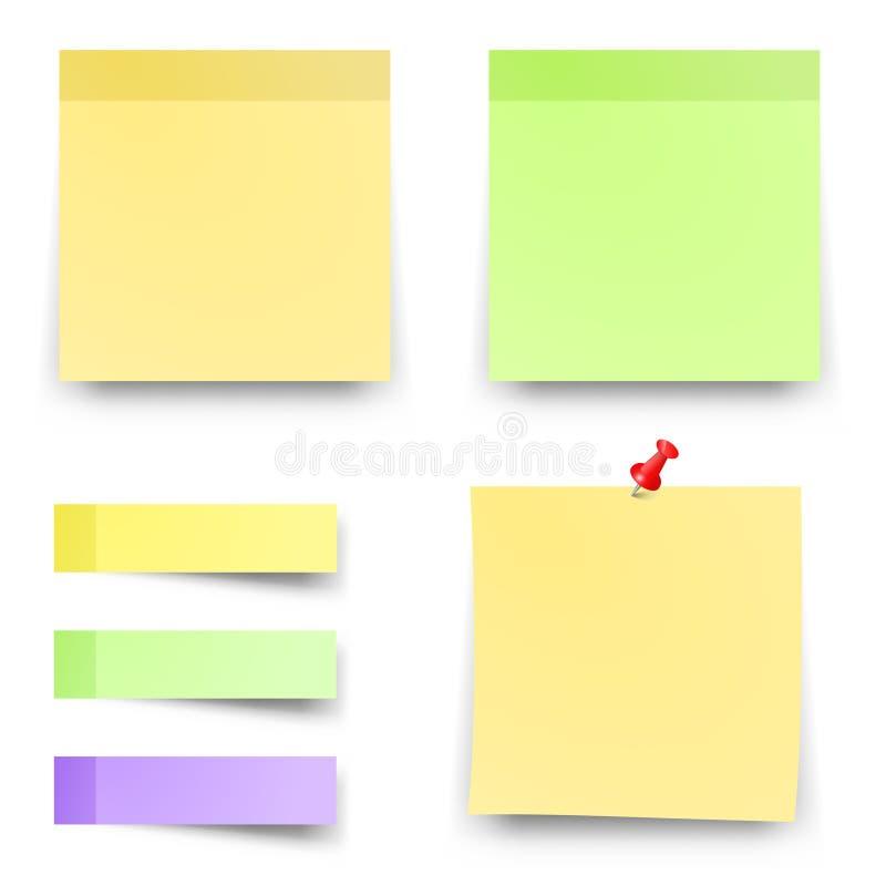 Post kleverige gekleurde documenten vectorbureaunota's royalty-vrije illustratie