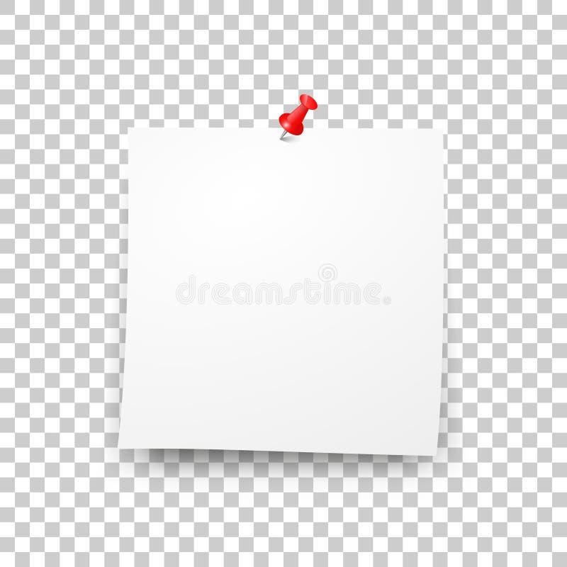 Post lege kleverige document bladvector royalty-vrije illustratie