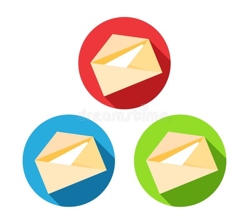 Post letter vector icon set. Symbol set isolated white. Flat design element illustration of Message. vector illustration