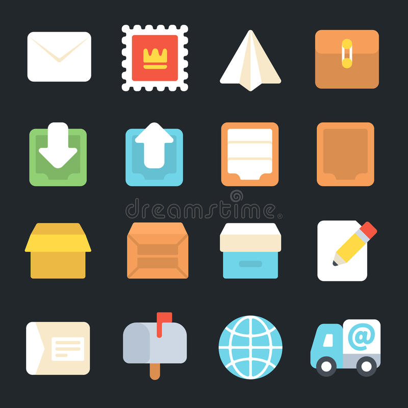 Post and Logistic service Flat Icons vector illustration