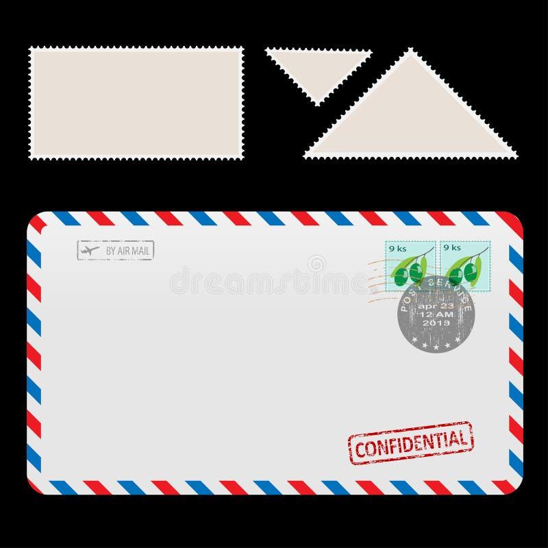 Post-Lufthülle-Ikone mit gesetztem Poststempel lizenzfreie abbildung