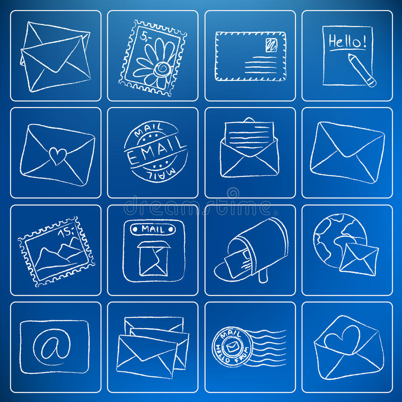 Post and mail chalky icons vector illustration