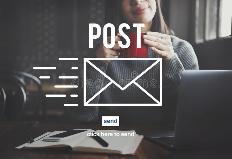 Post Mail Correspondence Online Message Communication Concept. People Using Post Mail Correspondence Online Message Communication stock photography