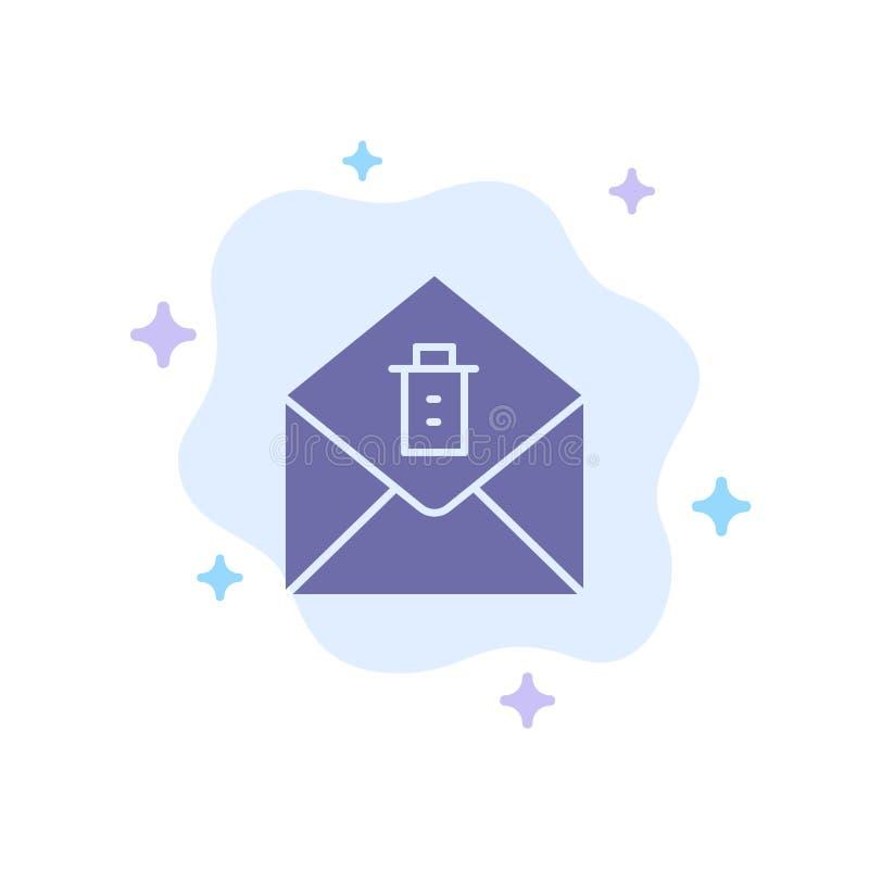 Post meddelande, blå symbol för borttagnings på abstrakt molnbakgrund vektor illustrationer