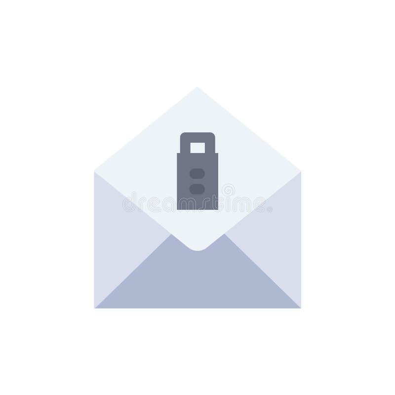 Post meddelande, plan färgsymbol för borttagnings Mall för vektorsymbolsbaner stock illustrationer