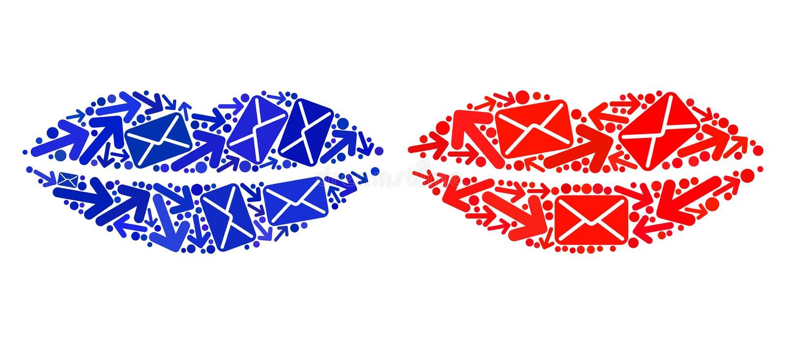 Post Movement Collage Smile Lips Icons royalty free illustration